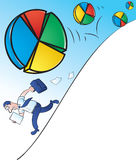 Rolling Pie Charts. Vector Illustration of a Businessman running away from Rolling Pie Charts Stock Photography