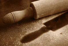 Rolling-pin. With flour over table Stock Photos