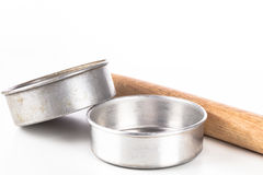 Rolling pin and baking pans Stock Photos