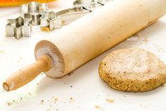 Rolling Pin and Cookie Dough Royalty Free Stock Photos