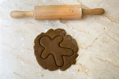 Rolling pin and cookie dough Royalty Free Stock Photography