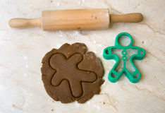 Rolling pin, cookie dough, and cutter Royalty Free Stock Photo