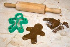 Rolling pin, cookie dough, and cutter Stock Photography