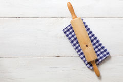 Rolling pin and dishcloth Stock Image