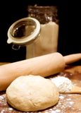 Rolling pin with dough Royalty Free Stock Photo