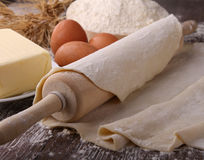Rolling pin and dough Stock Photos