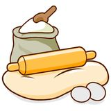 Rolling pin, dough and flour. Bread baking ingredients. A rolling pin rolling out dough, flour and eggs. Vector illustration Stock Photo