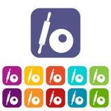 Rolling pin and dough icons set Stock Photos