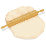 Rolling Pin with Dough. Vector Illustration of Rolling Pin with Dough Royalty Free Stock Photos