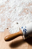 Rolling pin with flour. Copy Space Royalty Free Stock Image