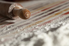 Rolling pin and flour Royalty Free Stock Photography