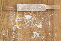 Rolling pin and flour Stock Images