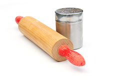 Rolling pin and flour dredger Royalty Free Stock Photos