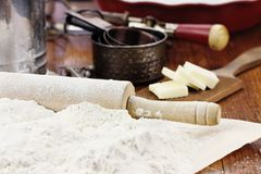 Rolling Pin and Flour Royalty Free Stock Photos