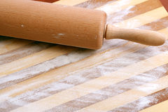 Rolling Pin, Flour and  wooden board Royalty Free Stock Photos