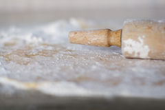 Rolling pin handle - narrow DOF. Rolling pin handle - very narrow depth of field stock images