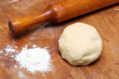 Rolling-pin with pastry Stock Photography