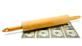 Rolling Pin On Us Currency Stock Image