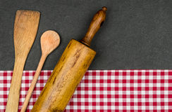 Rolling pin with wooden spoon Royalty Free Stock Photography
