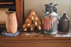 Rolling Pins and Old Pitchers Stock Photos