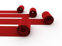 Rolling red carpets Stock Photography