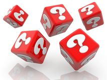 Rolling red cubes with question marks concept on white. In background vector illustration