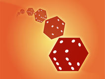 Rolling red dice illustration Stock Image