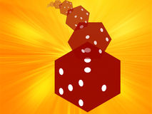 Rolling red dice illustration Royalty Free Stock Photos
