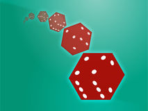 Rolling red dice illustration Stock Photos