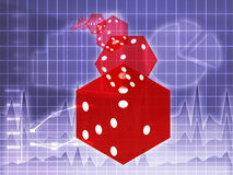 Rolling red dice illustration Royalty Free Stock Images