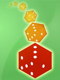 Rolling red dice illustration Royalty Free Stock Image