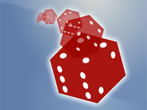 Rolling red dice illustration Stock Photography