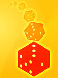 Rolling red dice illustration Stock Images
