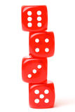 Rolling red dice isolated on white Stock Image