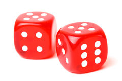 Rolling red dice isolated on white. Studio shot Stock Image