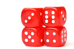 Rolling red dice isolated on white. Studio shot Royalty Free Stock Images