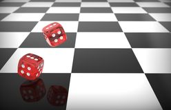 Rolling red dice Stock Photography