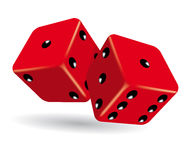 Rolling red dice vector illustration. Vector illustration of two red dice rolling stock illustration