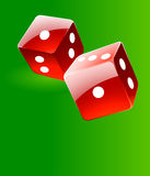 Rolling red glossy dices over green play table vec Royalty Free Stock Photo