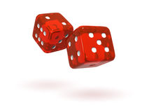 Rolling Red Semi-Transparent Dice. Isolated semi-transparent dice with soft shadows Royalty Free Stock Images