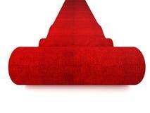 Rolling rood tapijt stock fotografie