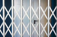 Rolling shutters closed in shop Stock Photo