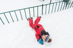 Rolling on snow Royalty Free Stock Photo