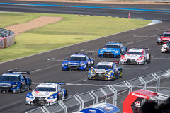 Rolling Start in Super GT Final Race 66 Laps at 2015 AUTOBACS SU Stock Photo