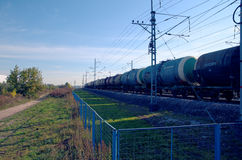 Rolling-stock with oil tanks Royalty Free Stock Photos
