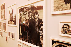 Rolling Stones. Collage of pictures of the Rolling Stones, made by Dutch photographer Anton Corbijn, as seen in the photography museum in The Hague, Netherlands Stock Images
