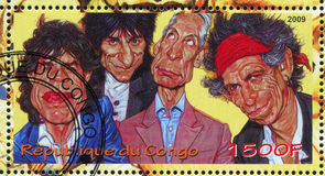 Rolling Stones. CONGO - CIRCA 2009: stamp printed by Congo, shows Rolling Stones, circa 2009 Stock Photography