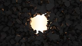 Rolling Stones. 3d render Rolling Stones. wall destruction. stone rock Stock Images