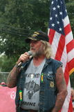 Dave Rabbi Decker, Rolling Thunder leader speaks at Save Our Cross Rally, Knoxville, Iowa Royalty Free Stock Photo