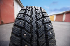 Rolling tire close up. Travel concept Royalty Free Stock Image